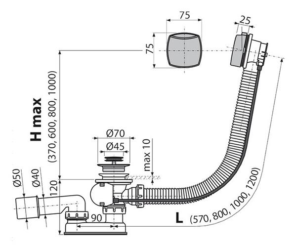 Сифон A55K Alcaplast для ванны с переливом 2