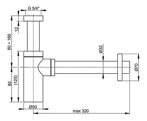 """AlcaPlast A400 Сифон для умывальника 1 1/4"""" (32 мм) латунный 2"""