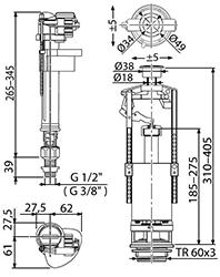 Арматура SA2000SK Alcaplast с нижней подводкой 2