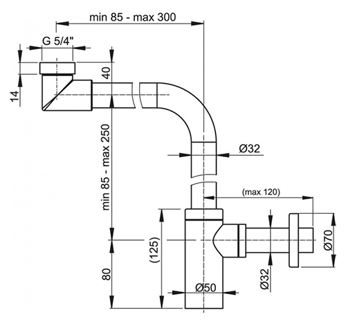 """AlcaPlast A403 Сифон для умывальника 1 1/4"""" (32 мм) латунный 2"""