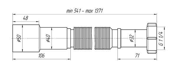 Гофра K216 Ани 1 1/4″х40/50 для сифона 2