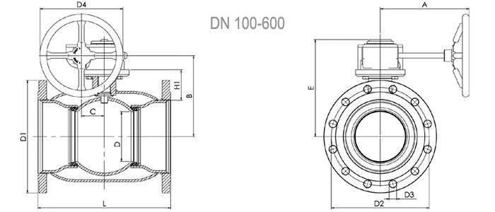 Кран шаровой NAVAL фланцевый для газа с редуктором 2