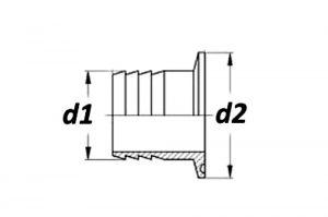 Штуцер шланговый кламп по стандартам SMS3008, BS4825-3, ASME BPE 1
