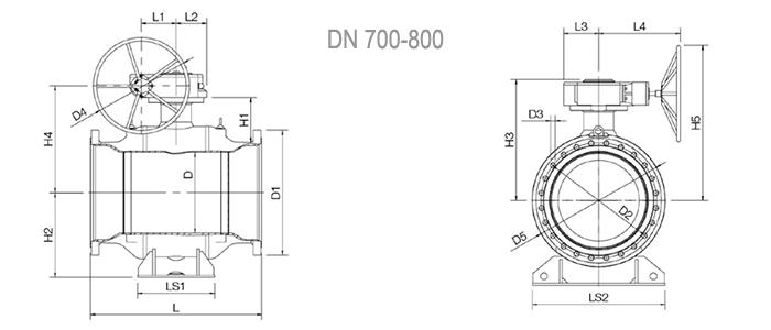 Кран шаровой NAVAL фланцевый для газа с редуктором 3