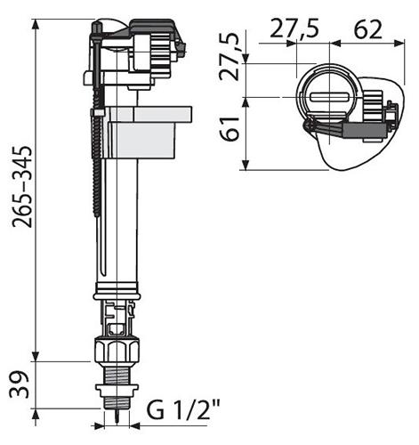 AlcaPlast A18 Впускной механизм с нижней подводкой 2
