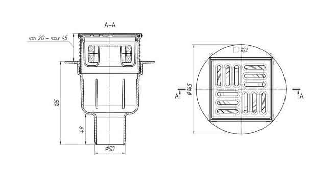 Трап для душа 100х100 выпуск 50 мм Ани TQ5702 сухой регулируемый 2