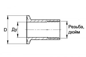 Патрубок кламп с внутренней резьбой 1