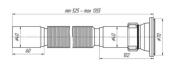Ани Пласт G114 Сифон гофрированный для мойки 1 1/2″х40 мм 2