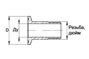 Патрубок кламп с наружной резьбой 1