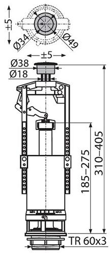 AlcaPlast A2000 Сливной механизм для бачка унитаза 2