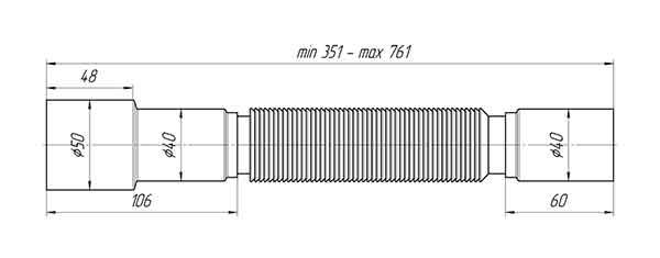 Гофра K406 Ани 40х40/50 для сифона 2