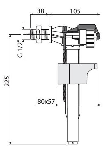 Арматура A15 Alcaplast с боковой подводкой 2