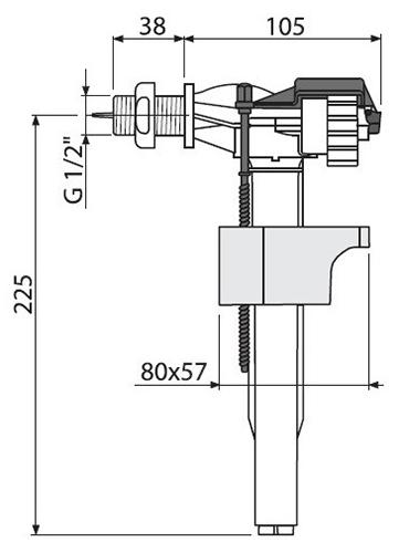 Арматура A16 Alcaplast с боковой подводкой 2