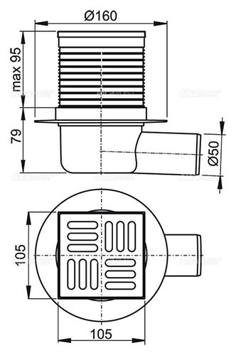 Трап APV31 Alcaplast 105x105 выпуск 50
