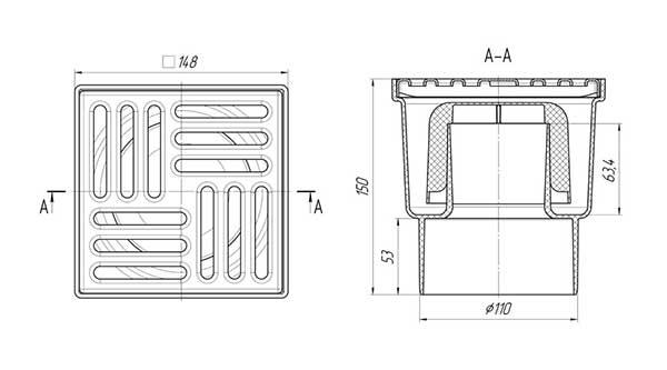 Трап для душа 150х150 выпуск 110 мм Ани TA1212 вертикальный 2