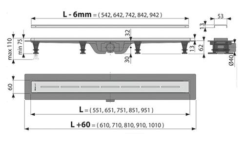 AlcaPlast APZ18 Simple Лоток душевой с порогом и горизонтальным выпуском 40 мм 2