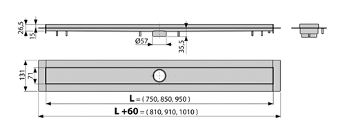 AlcaPlast APZ13 Modular Лоток душевой без решетки и сифона 2