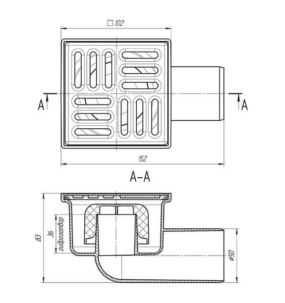 Трап TA5102 Ани 100х100 выпуск 50 мм 2
