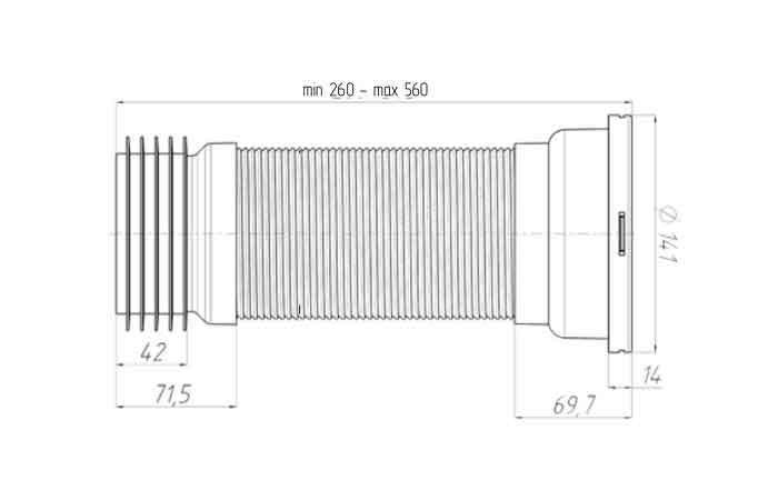 Ани Пласт K928 Гофра для унитаза D 110 мм L=260-560 мм 2