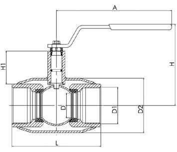 NAVAL Кран шаровой стальной стандартнопроходной резьбовой для газа 2