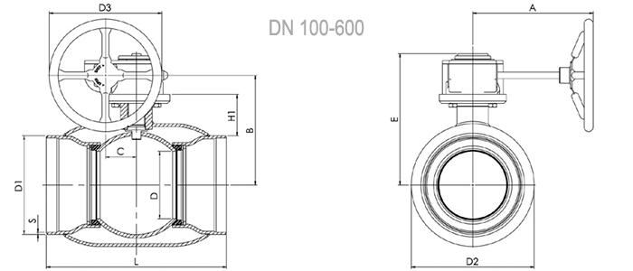 Кран шаровый NAVAL под приварку стандартнопроходной (с редуктором) 2