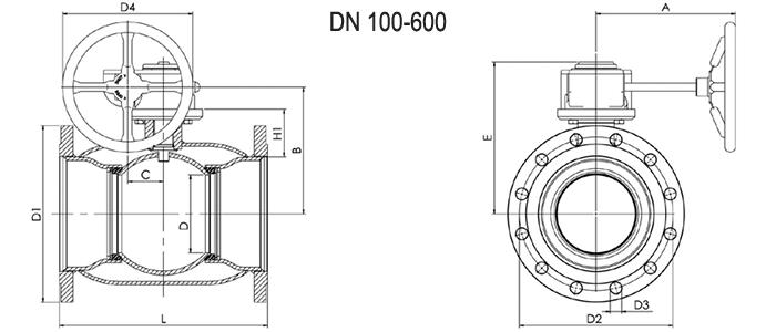 NAVAL Кран шаровой стальной стандартнопроходной фланцевый с редуктором 2