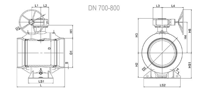 Кран шаровый NAVAL под приварку стандартнопроходной (с редуктором) 3