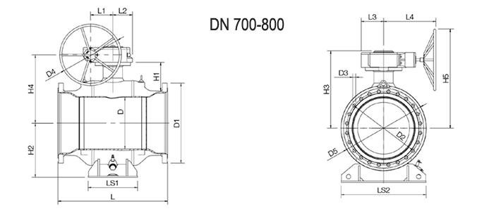 NAVAL Кран шаровой стальной стандартнопроходной фланцевый с редуктором 3