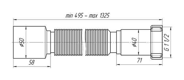 Ани Пласт K115 Гофра для сифона 1 1/2″х50 мм L=495-1325 мм 2