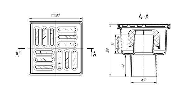 Ани Пласт TA5202 Трап для душа 100х100 с вертикальным выпуском 50 мм 2