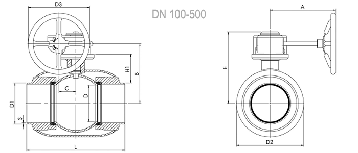 Кран шаровой NAVAL полнопроходной под приварку с редуктором 2