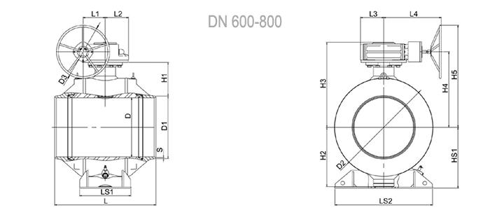 Кран шаровой NAVAL полнопроходной под приварку с редуктором 3