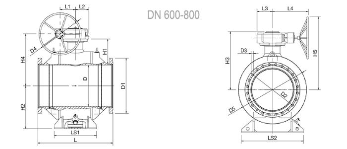 NAVAL Кран шаровой стальной полнопроходной фланцевый с редуктором 3