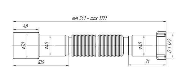 Ани Пласт K116 Гофра для сифона 1 1/2″х40/50 мм L=541-1371 мм 2
