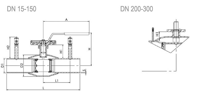 Кран шаровой NAVAL регулирующий под приварку 2