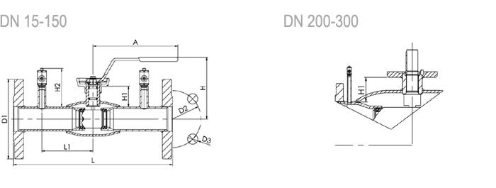 Кран шаровой NAVAL регулирующий фланцевый 2