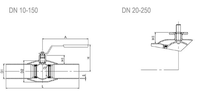 NAVAL Кран шаровой нержавеющий стандартнопроходной под приварку 2