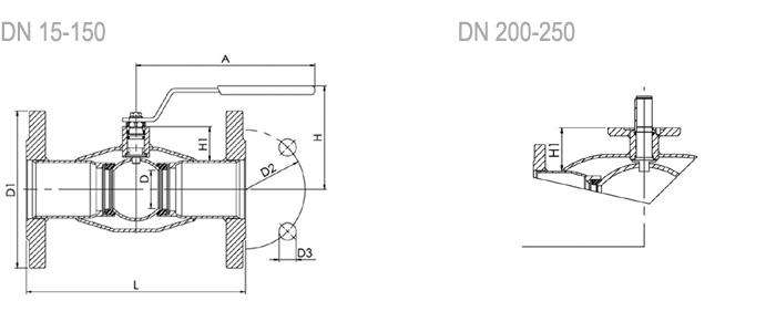 NAVAL Кран шаровой нержавеющий стандартнопроходной фланцевый 2