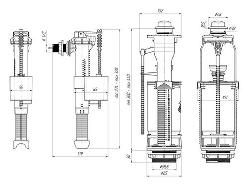 Арматура WC8010C АНИ ПЛАСТ с боковой подводкой 2