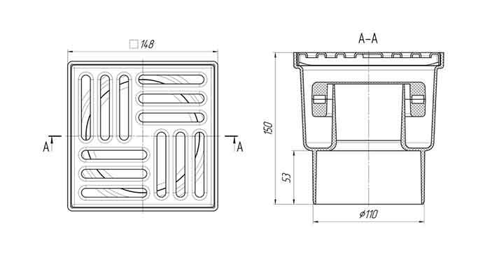Трап TQ1212 Ани 150х150 выпуск 110 мм 2