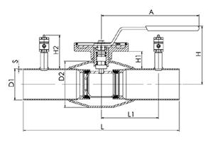 Кран шаровой NAVAL регулирующий нержавеющий под приварку 2