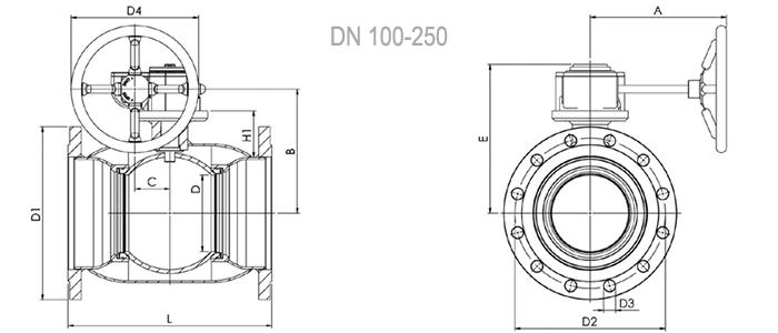 NAVAL Кран шаровой нержавеющий стандартнопроходной фланцевый с редуктором 2
