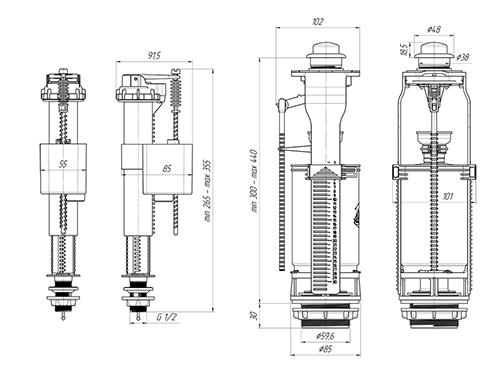 Ани Пласт WC8510C Арматура для унитаза с нижней подводкой 2
