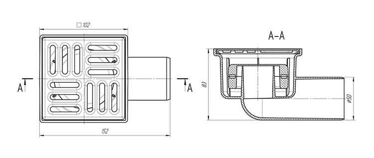 Трап для душа 100х100 выпуск 50 мм Ани TQ5102