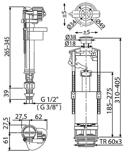 Арматура SA2000S Alcaplast с нижней подводкой 2