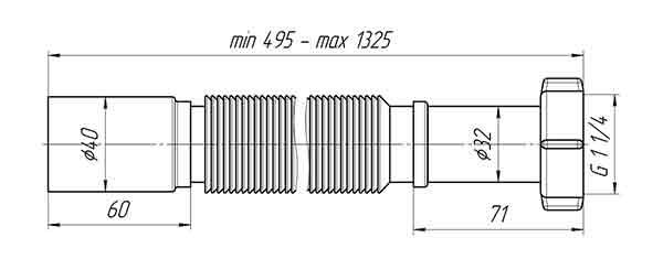 Гофра K214 Ани 1 1/4″х40 для сифона 2