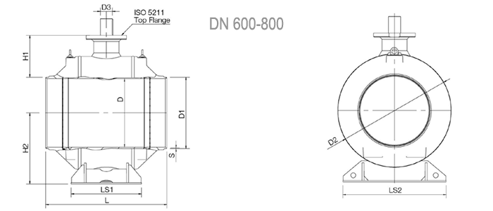 Кран шаровый NAVAL под приварку полнопроходной для газа 3