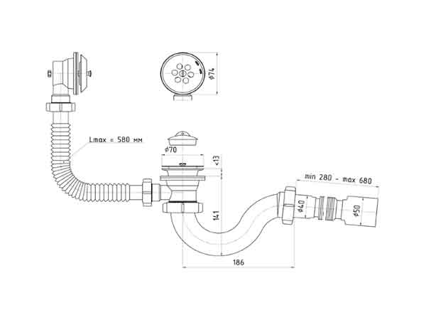 Сифон E155 Ани 1 1/2″ с переливом и гофрой 40х50 2